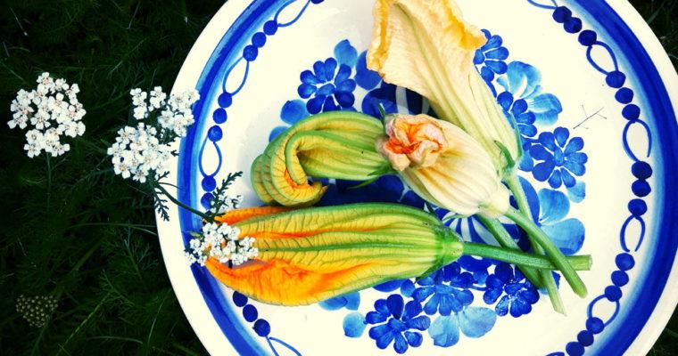 Kwiaty cukinii z fetą