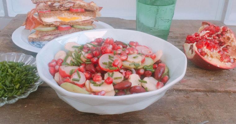 Sałatka z topinamburu, ogórka, rzodkiewki i fasoli