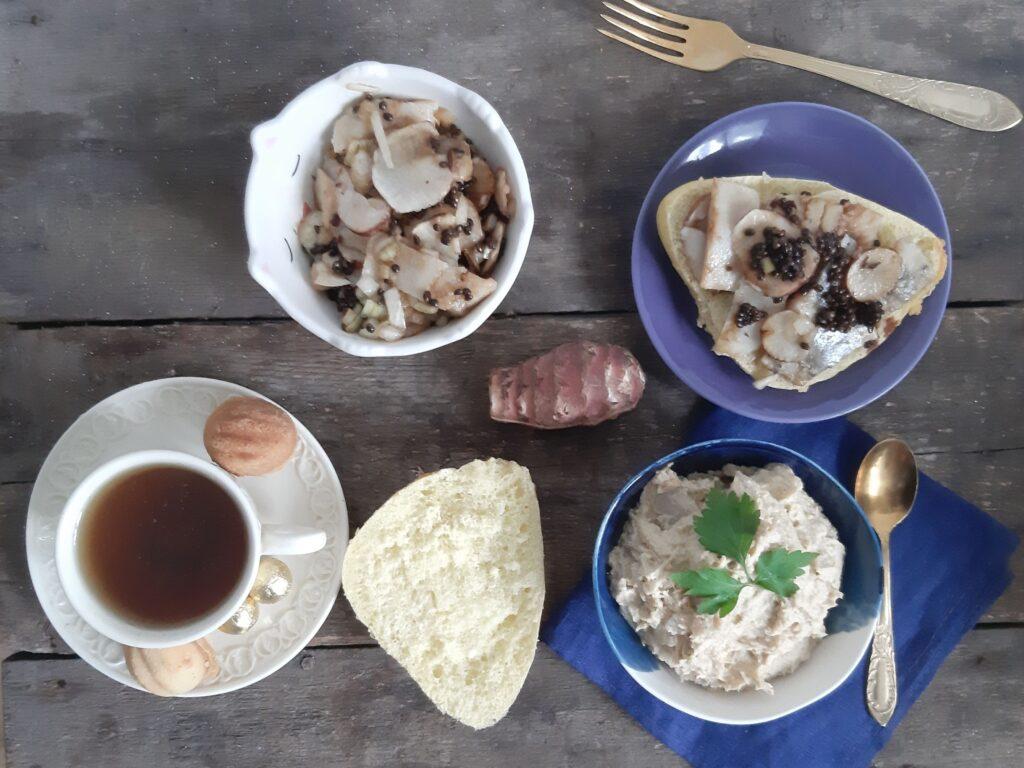 humus i sledz topinambur